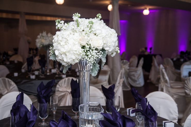 Floral display at reception hall in Littleton, CO.