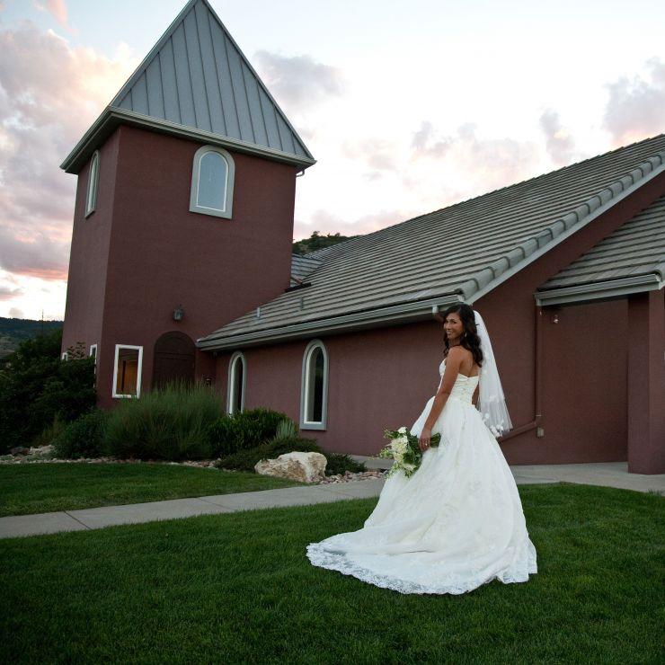 bride at wedding chapel